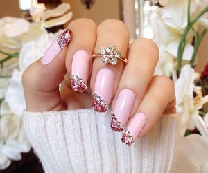 pink nails, pretty in pink, and square nails image