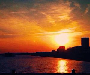 art, sun, and sunset image