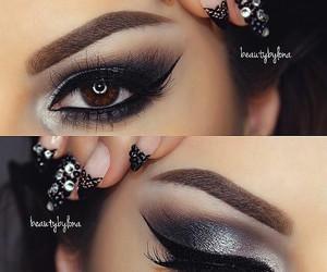 black, eye makeup, and eyes image