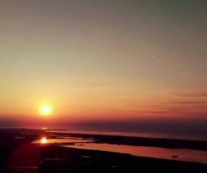 running, sea, and sunrise image