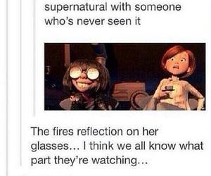 supernatural, fire, and sam winchester image