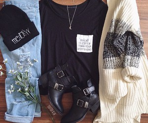 clothes, outfit, and cardigan image