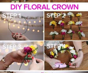 diy, crown, and flowers image