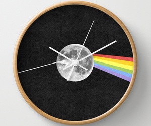 Pink Floyd, black and white, and clock image