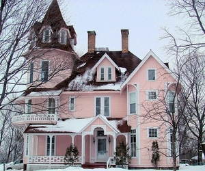 house, pink, and snow image
