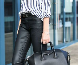 black and white, givenchy purse, and leather image