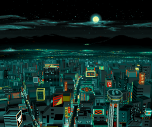 city, night, and art image