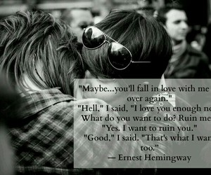 quote, fall in love, and hug image