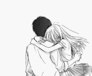 hug, black and white, and manga image