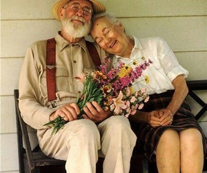 love, couple, and flowers image