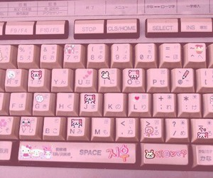 pink, keyboard, and kawaii image