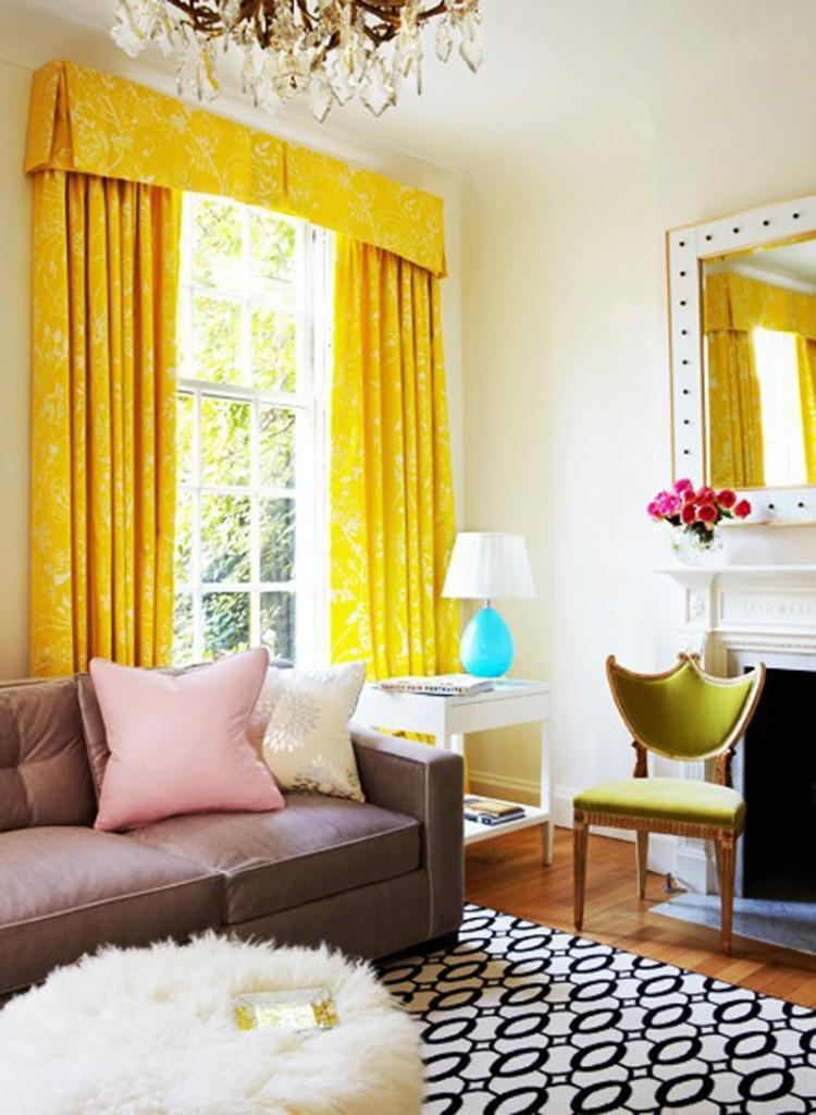 Decoration, Bright Living Room With Yellow Curtains Awesome ...