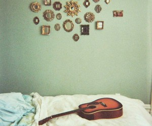 guitar, bed, and mirror image