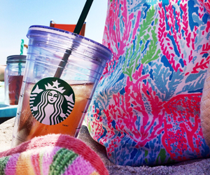starbucks, summer, and beach image