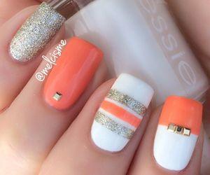 nails, nail art, and orange image