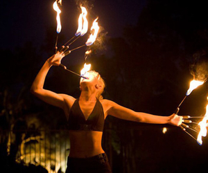 awesome, flames, and woman image