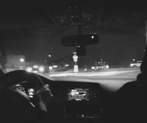 black and white, car, and driving image