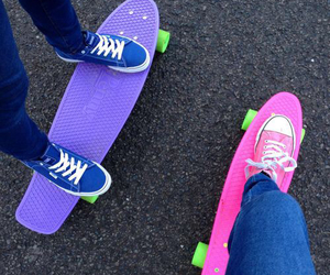 pink, skateboard, and penny boards image