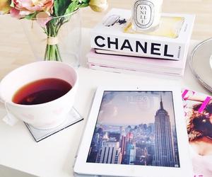 chanel, tea, and ipad image