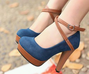 blue, girly, and heels image