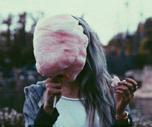 girl, cotton candy, and food image