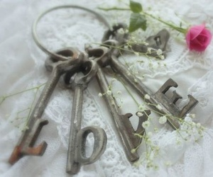 love, key, and flowers image