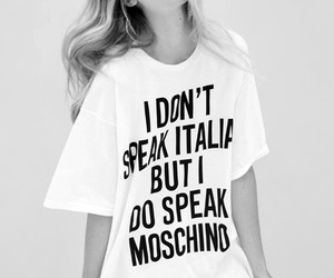 Moschino, model, and black and white image