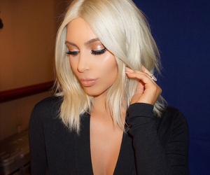 kim kardashian, blonde, and kim image