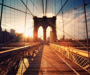 bridge, sun, and new york image
