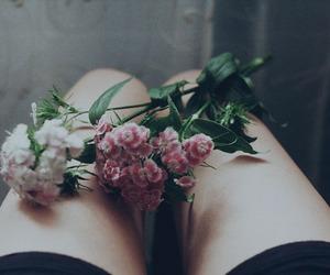 flowers, vintage, and legs image