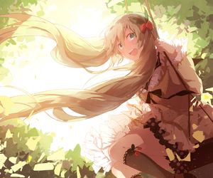 hatsune miku, leaves, and vocaloid image