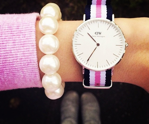 daniel wellington, pearls, and pink image