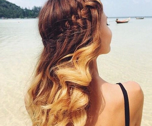 hair, beach, and summer image