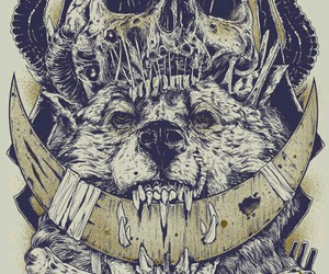 skull, wolf, and art image
