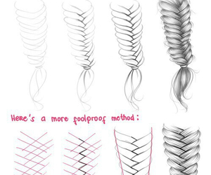 drawing, hair, and braid image