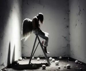 angel, sad, and wings image