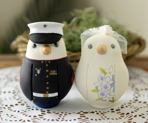 cake topper, penguin, and wedding image