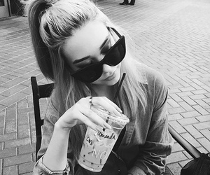 black and white, drink, and girl image