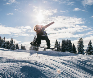 girl, mountain, and snowboard image