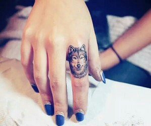nails, wolf, and tattoo image