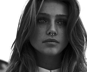 girl, piercing, and black and white image