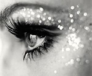 black and white, lashes, and shine image
