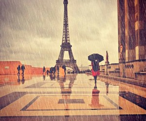 eiffel tower and rain image