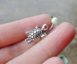 turtle, belly ring, and cute image