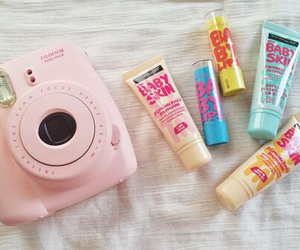 baby lips, camera, and pink image