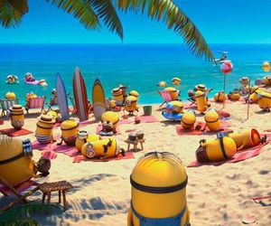minions, beach, and despicable me image