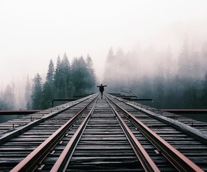 fog, railroad, and lovely image