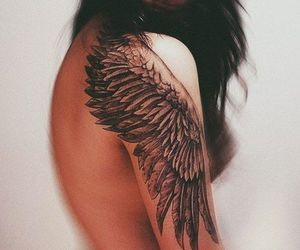 angel, tattoo, and wings image
