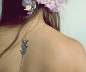 flowers, neck, and tattoo image