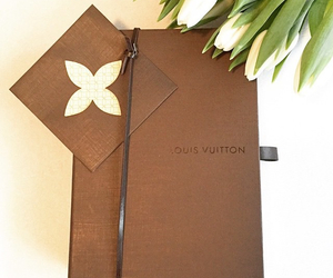 luxury, white tulips, and louis vuitton brown box image